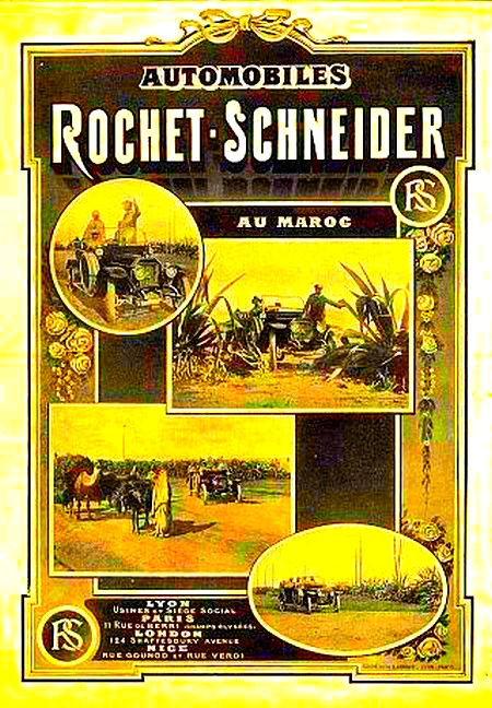 Rochet-Schneider Atomobiles au Maroc - Affiche de 1914